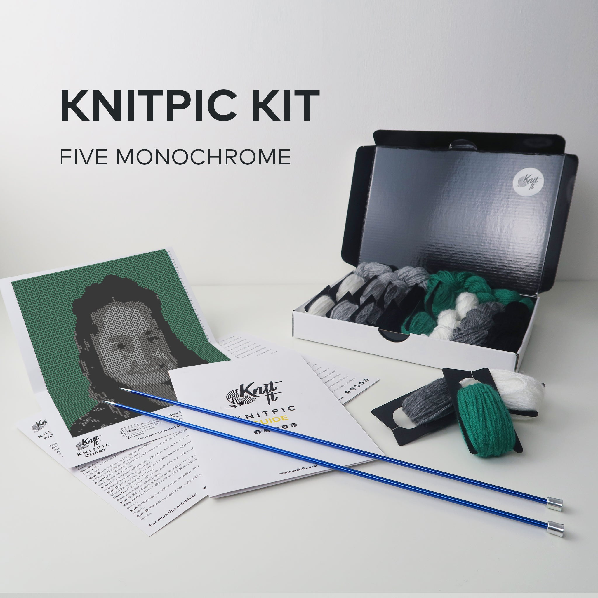 Five Greyscale KnitPic Kit