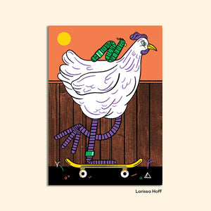 SKATER CHICKEN postcard