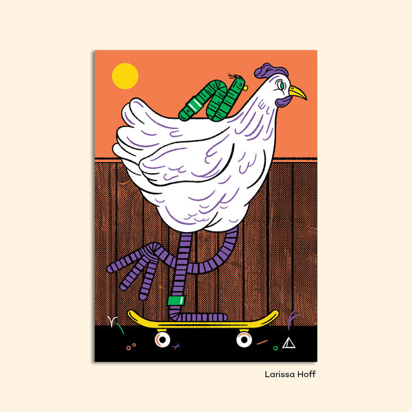 "Postcard ""Skater Chicken"" by Larissa Hoff"