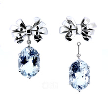 Load image into Gallery viewer, The Celine Ribbon Bow Earrings with Beryl Enhancers