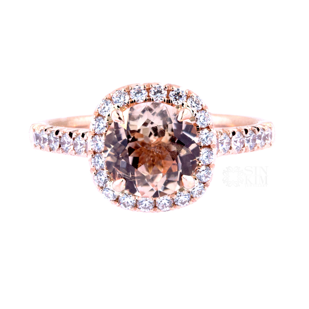Kate Ring: Sapphire Halo Ring in Rose Gold