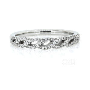 Rebekka Ring: Woven Braided Diamond Pavé Wedding Ring