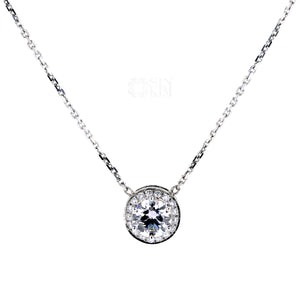 Classic 0.40ct diamond halo pendant is a staple in any jewellery box.  It is easy to match, layer and worn every day!