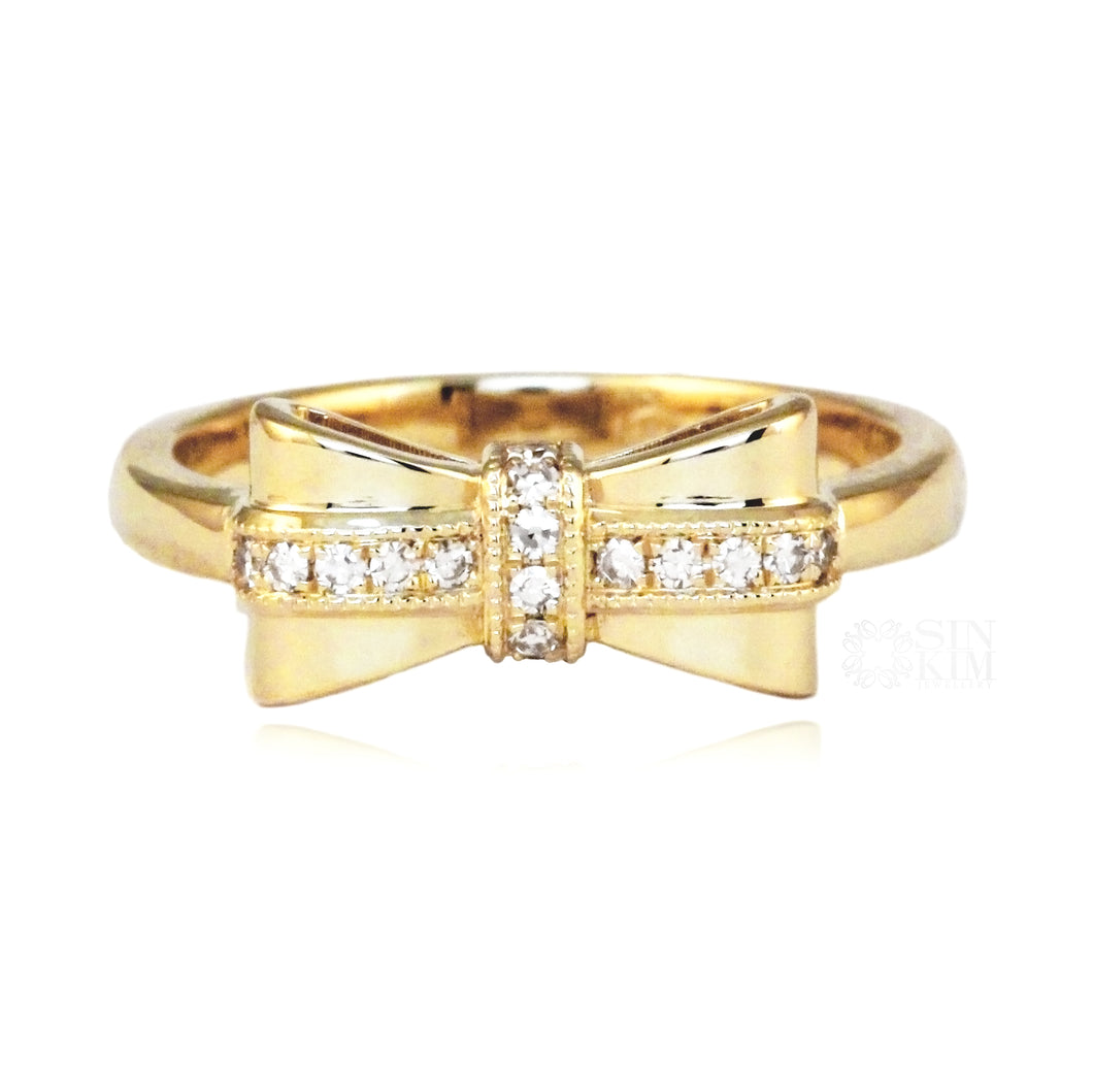 yellow gold bow tie ring promise ring with diamonds