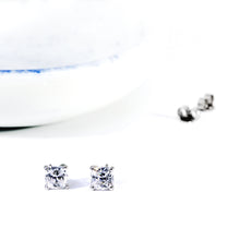 Load image into Gallery viewer, CZ Cushion Cut Studs Earrings