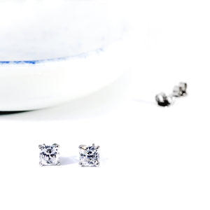CZ Cushion Cut Studs Earrings