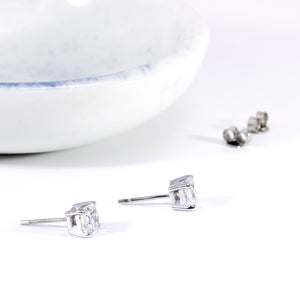 Cushion Cut White Gold Cubic Zirconia Studs