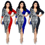 ladies shiny sequined slit midi dress - KOLLMART