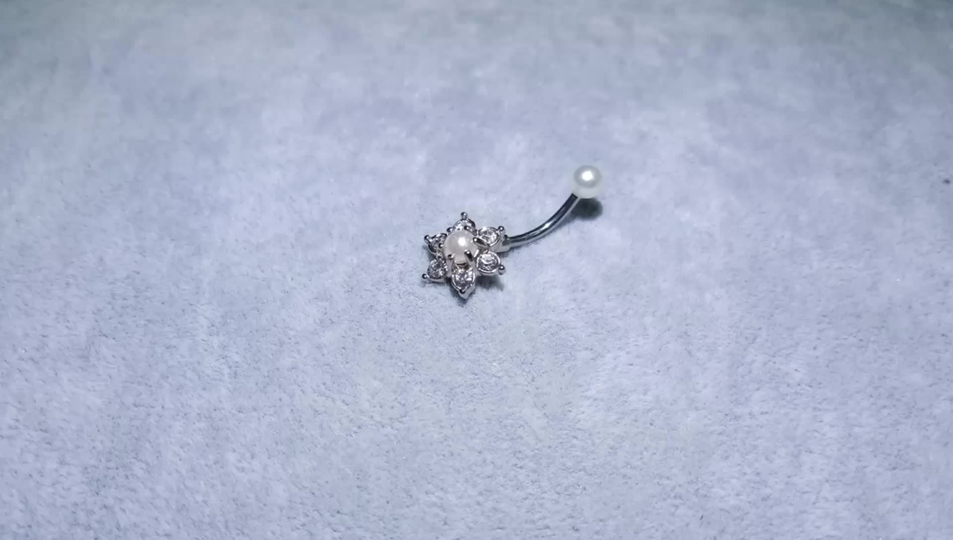 Steel Gem Belly Navel Piercing Ring - KOLLMART