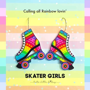 Skater Girls Rainbow Resin Earrings
