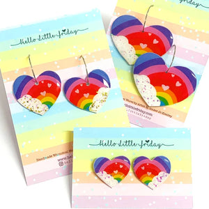 I Love Rainbows Resin Stud Earrings