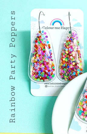 Party Popper Glitter Bomb Drop Earrings