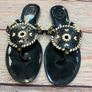 Photo #1 - BRAND: JACK ROGERS STYLE: FLIP FLOPS COLOR: BLACK SIZE: 9 OTHER INFO: WHITE TRIMS SKU: 178-178102-56446