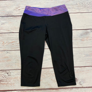 Primary Photo -  STYLE: ATHLETIC CAPRIS COLOR: BLACK SIZE: M OTHER INFO: PURPLE/PINK STRIPED WAISTBAND SKU: 178-178102-63853