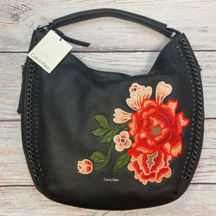 Primary Photo - BRAND: CALVIN KLEIN STYLE: HANDBAG LEATHER COLOR: BLACK SIZE: LARGE OTHER INFO: $348 NEW! FLOWER EMBROIDERY SKU: 178-178212-5624