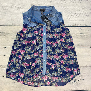 Primary Photo - BRAND: PAPILLION STYLE: TOP SLEEVELESS COLOR: NAVY SIZE: XL OTHER INFO: DENIM SHOULDERS/ SHEER W/ FLOWERS SKU: 178-178203-303