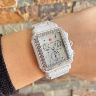 Primary Photo - BRAND: MICHELE STYLE: WATCH COLOR: WHITE OTHER INFO: DECO WHITE CERAMIC DIAMOND-$1995 SKU: 178-178102-54094
