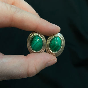Primary Photo - STYLE: EARRINGS COLOR: STERLING SILVER OTHER INFO: GREEN OVAL CENTER SKU: 178-178102-59791