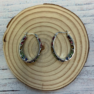 Primary Photo - BRAND:  STYLE: EARRINGS COLOR: SILVER OTHER INFO: JMC BRASS - RAINBOW GEMS OVAL HOOP SKU: 178-178212-6219