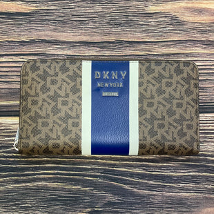 Primary Photo - BRAND: DKNY STYLE: WALLET COLOR: MONOGRAM SIZE: LARGE OTHER INFO: BROWN WITH BLUE/WHITE STRIPE SKU: 178-178212-52