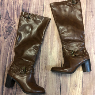 Primary Photo - BRAND: JUST FAB STYLE: BOOTS KNEE COLOR: BROWN SIZE: 7 OTHER INFO: GOLD STUDS ON BUCKLE SKU: 178-17824-11431