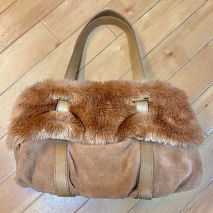 Primary Photo - BRAND: AUDREY BROOKE STYLE: HANDBAG COLOR: CAMEL SIZE: MEDIUM OTHER INFO: NEW! $129.50-FURRY/SUEDE SKU: 178-178102-52736