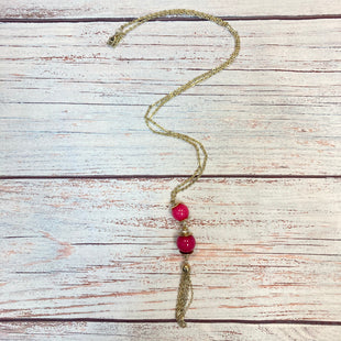 Primary Photo - BRAND: LIMITED STYLE: NECKLACE COLOR: GOLD OTHER INFO: 2 PINK SPHERES W/TASSLE SKU: 178-178212-4602