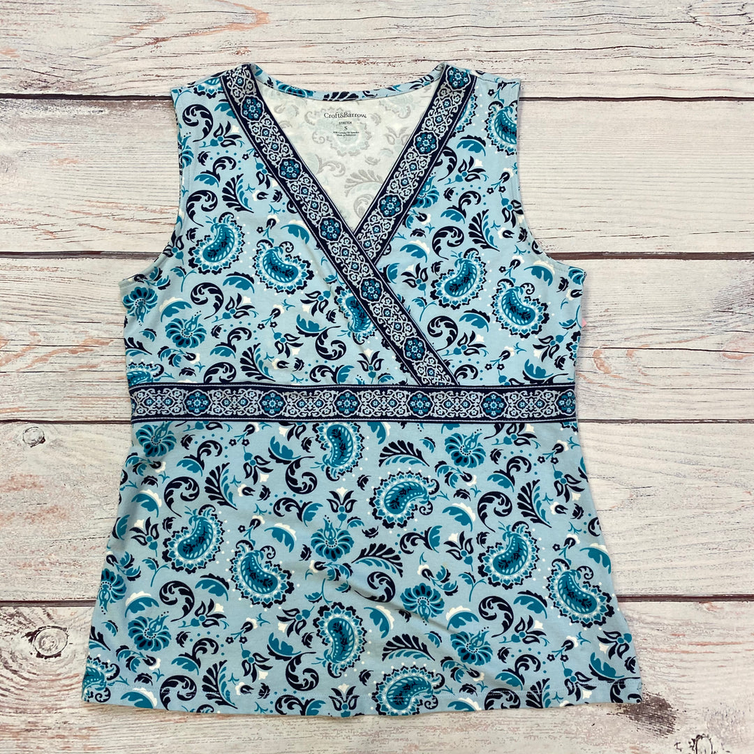 Primary Photo - BRAND: CROFT AND BARROW <BR>STYLE: TOP SLEEVELESS BASIC <BR>COLOR: PRINT <BR>SIZE: S <BR>OTHER INFO: BLUE/NAVY <BR>SKU: 178-17883-10221