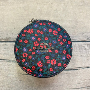Makeup Bag By Coach - BRAND: COACH STYLE: MAKEUP BAG COLOR: BLACK OTHER INFO: CIRCULAR JEWELRY CASE W/ PINK/BLUE/GREEN FLOWERS SKU: 178-178203-2417