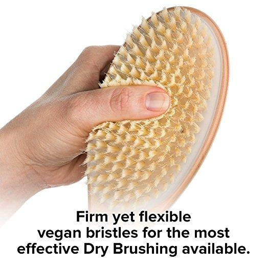 Dry Brushing Body Brush - VEGAN - Gentle Natural Cellulite Massager and Exfoliating Lymphatic Scrub Brush For Radiant and Smoother Skin