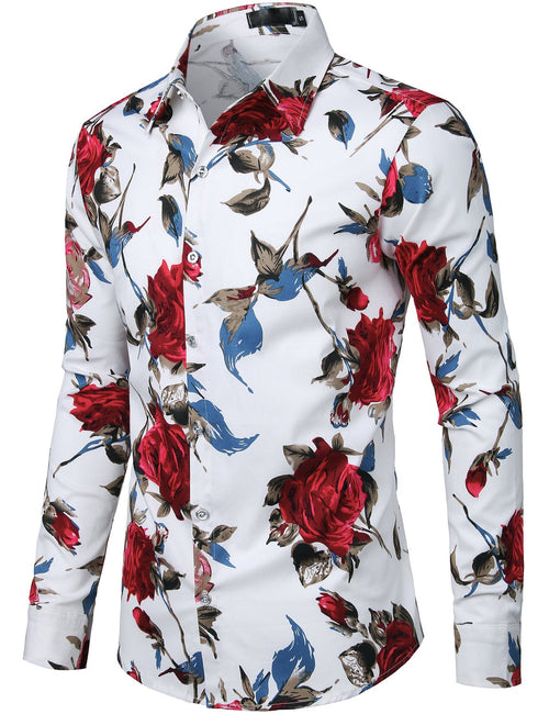 Men's Floral Cotton Long Sleeve Shirt