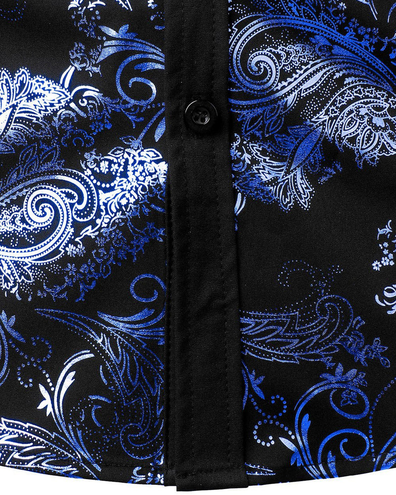 Men's Henley Shirts Metallic Gold Print Paisley Button Down Shirt