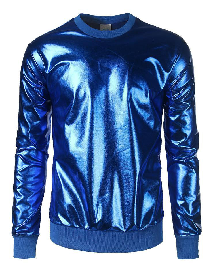 Metallic Gold Shiny Shirts Nightclub Styles Hoodies
