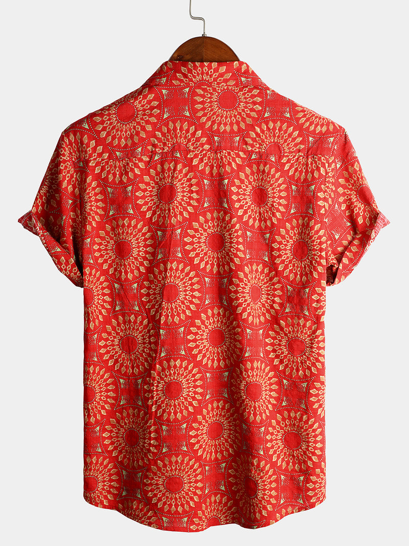 Men's Short Sleeve Tribal Cotton Shirt