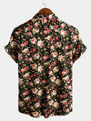 Men's Short Sleeve Rose Print Cotton Shirt