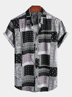 Men's Holiday Short Sleeve Patchwork Cotton Shirt