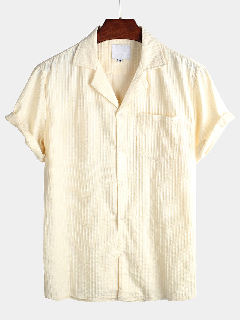 Men's Casual Short Sleeve Cotton Striped Shirt