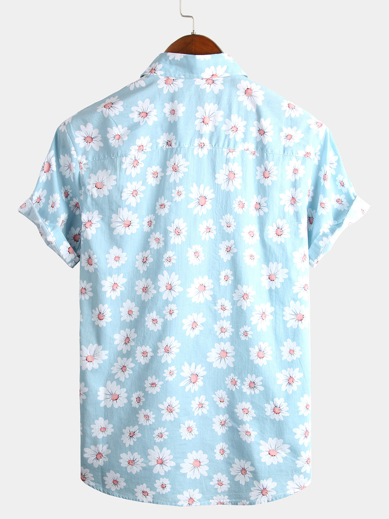Men's Tropical Hawaiian Floral Print Cotton Shirt