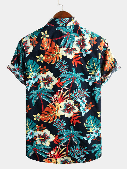 Men's Casual Tropical Floral Print Shirt