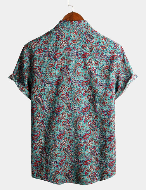 Men's Short Sleeve Classic Paisley Pattern Cotton Shirt