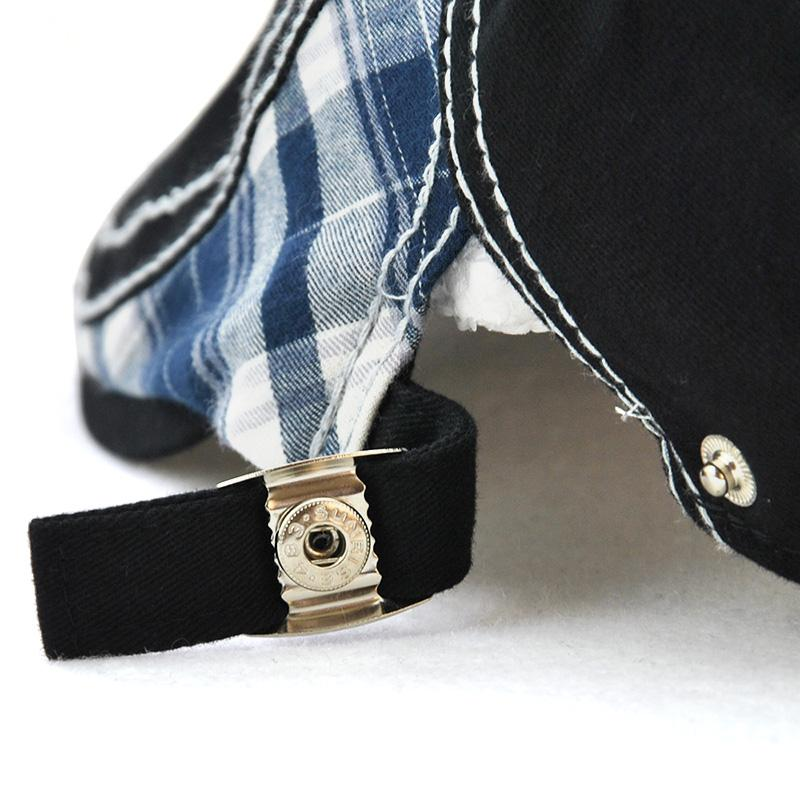 Men's Plaid Fabric Stitching Letter Embroidery Cap