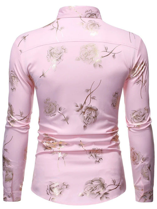 Men's Foil Printing Casual Long Sleeve Shirts