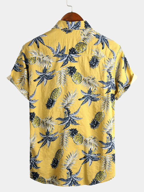 Men's Casual Short Sleeve Pineapple Print Shirt