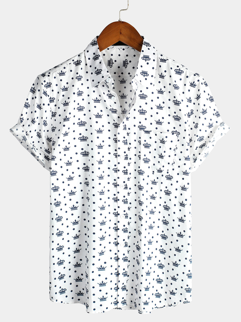 Men's Casual Holiday Short Sleeve Cotton Shirt