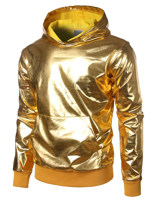 Mens Metallic Gold Shirts Nightclub Styles Hoodies