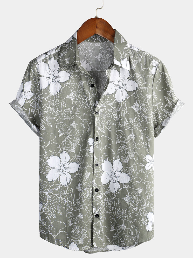 Men's Floral Print Holiday Cotton Shirt