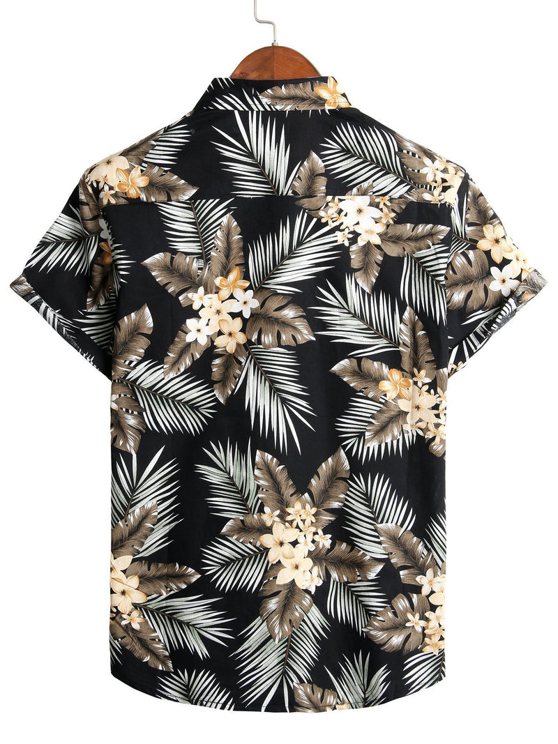Men's Print Casual Short-Sleeve Floral Shirt