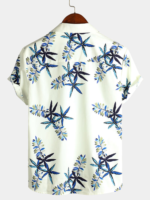 Shirt Collar Plants Print Beach Shirt