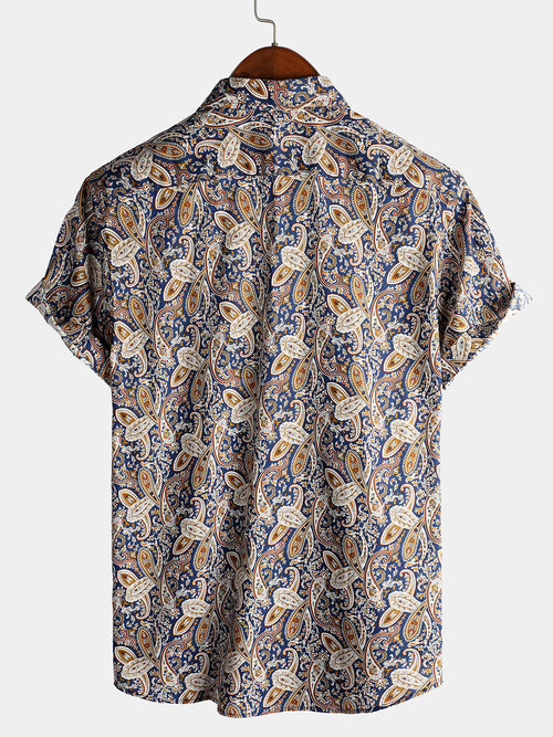 Men's Classic Paisley Pattern Cotton Print Shirt