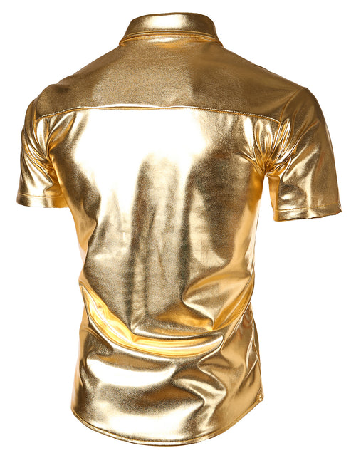 Mens Metallic Shiny Nightclub Styles Short Sleeves Button Down Dress Shirts